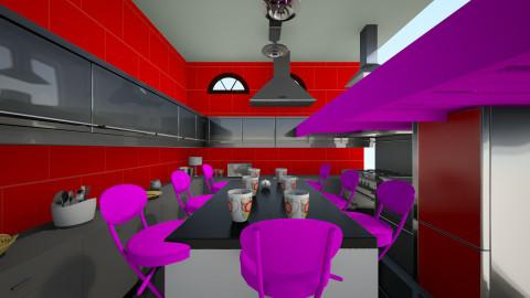red kitchen - Feminine - Kitchen - by Boyana82
