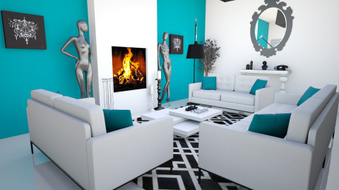 Geometric Black and White - Living room - by ilucia