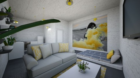 Gray And Yellow Studio - by laurenolivis