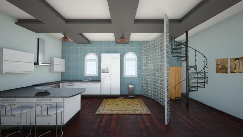 Blue and Grey - Kitchen - by kylathemermaid