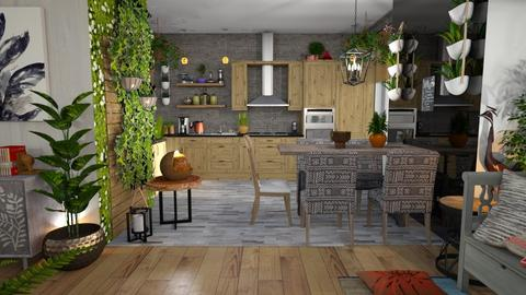 urban jungle kitchen - Kitchen - by Moonpearl