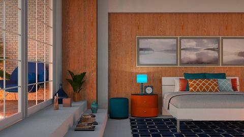 orange and blue bedroom - Bedroom - by Lilaah
