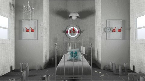 grey room with bed - by Graff