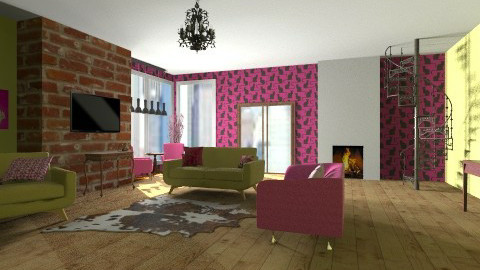 pink and green  - Feminine - Living room - by bethany81