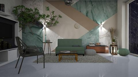 Green_and_Grey - Living room - by ZuzanaDesign