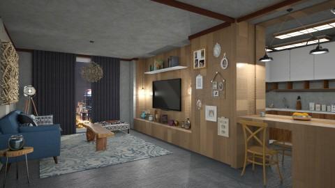wooden flat - Living room - by mayssa ltf