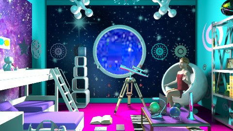 Girl in Space - Kids room - by ninazara1234