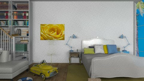 Blue white and yellow - Bedroom - by TheDesignQueen