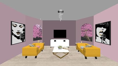 yellow pink pop - Glamour - Living room - by hayleymarie34