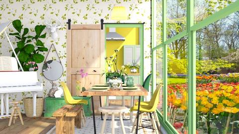 Green Dining Room  - Dining room - by anamarijag00