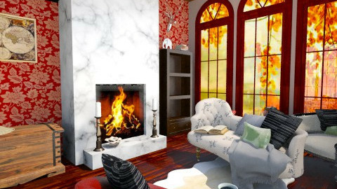 Red Room - Vintage - Living room - by jlively