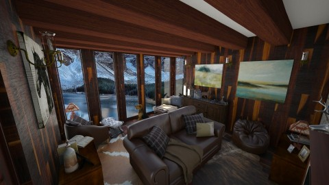 Canadian Cabin House - Rustic - Living room - by Alexandra U Field