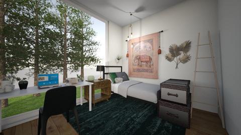 Dark Green Dorm Room - Feminine - Bedroom - by katae potatae