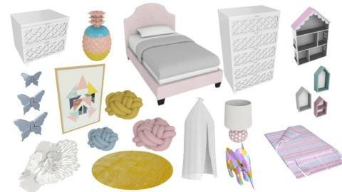 PinkBlueYellow Girls room - by SKS419