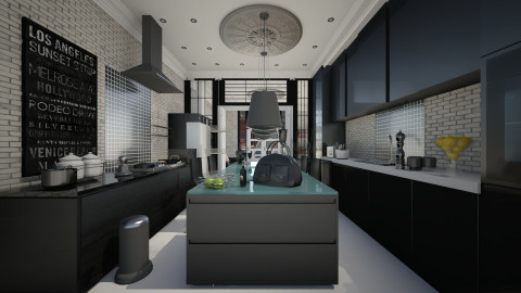 black kitchen with stone - Eclectic - Kitchen - by sometimes i am here