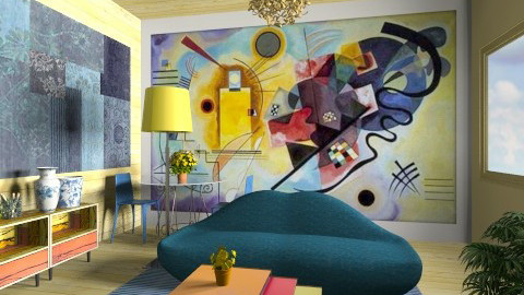 Blue And Yellow - Glamour - Living room - by Luisy