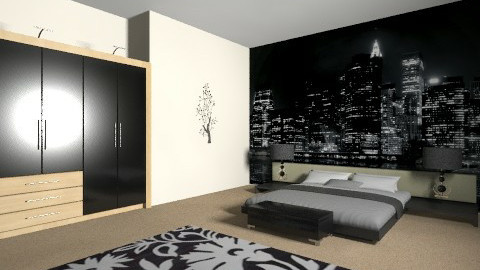 black and white bedroom - Modern - Bedroom - by AoifeK