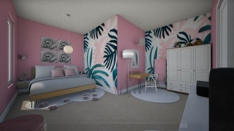 Pink Tropic - Feminine - Bedroom - by CasuallyCrystalClear