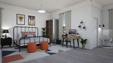 Steel Blue n Burnt orange - Bedroom - by lovedsign