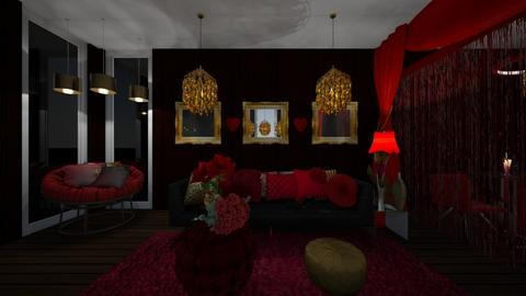 Red and Gold - Glamour - Living room - by XiraFizade