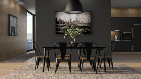Black and Wood - Dining room - by GraceKathryn