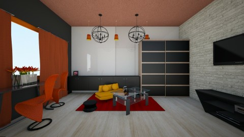 Orangelivingroom - Glamour - Living room - by linnda123222