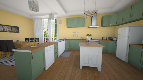 green kitchen - Kitchen - by aerifia