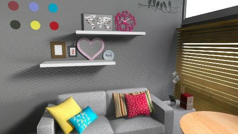 all grey - Living room - by jujulianamara