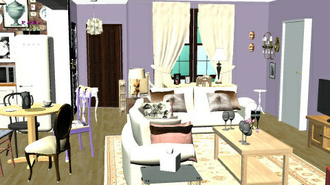 Monica's Apartment (iRay) - Eclectic - Living room - by starryarryo