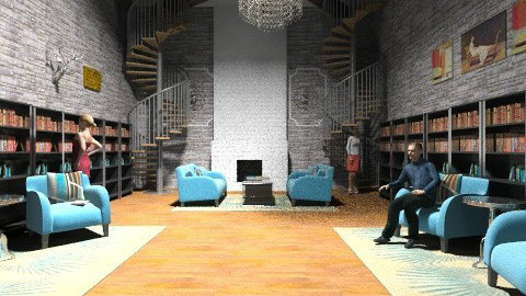 library  - Rustic - Living room - by emily55