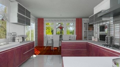 Red and White Kitchen - Modern - Kitchen - by Bibiche