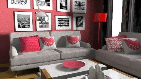 Red 2 living room - Living room - by vina sian
