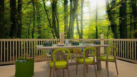green outdoor dining - Living room - by pingbubbles