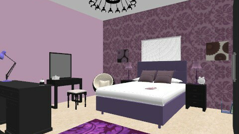 purple teen girl room - Feminine - Bedroom - by chelsiemia