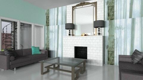 Teal And Aqua - Living room - by Wozniazailia