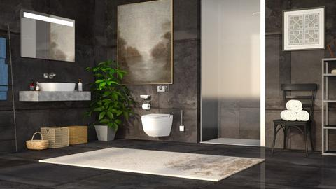 Dark Concrete Bathroom - Minimal - Bathroom - by millerfam