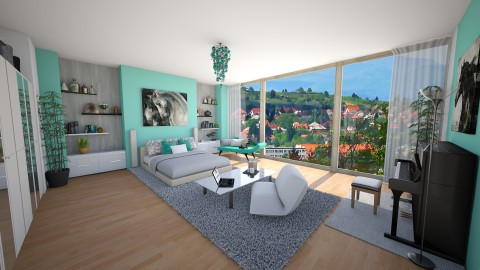 Turquoise bedroom - Modern - Bedroom - by Melody06
