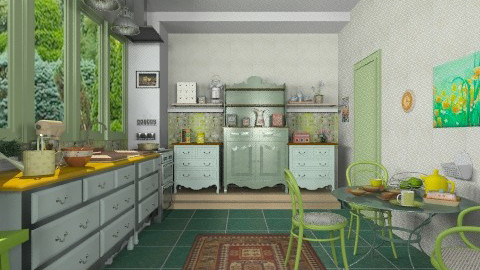 Green kitchen - Country - Kitchen - by milyca8