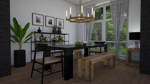 Wood and black - Dining room - by Tuija