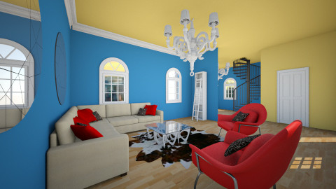 Blue Red House - Living room - by allisorax