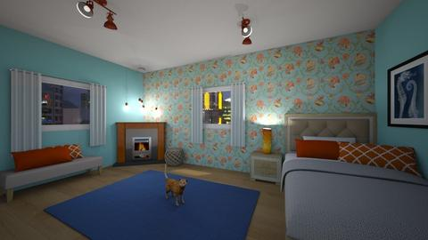 Blue and Orange - Bedroom - by Athena_