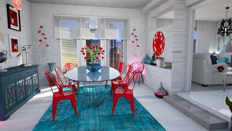 blue and red combo - Dining room - by Moonpearl