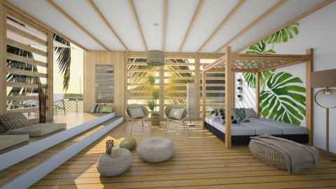 Tropical Rattan - Bedroom - by Selene_