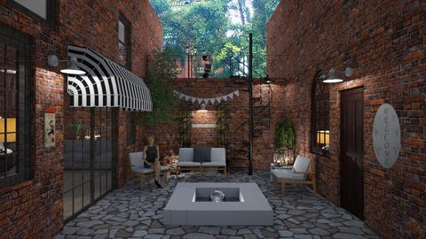 city courtyard - by Bonnie Chappell