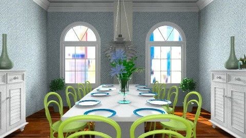 green and blue room - Retro - Dining room - by dancergirl1243