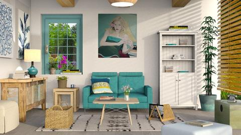 something blue 2 living room by sally simpson - Interior For Rooms