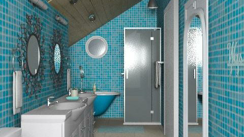 Sisters turquoise attic bath - Eclectic - Bathroom - by alleypea