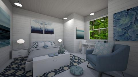 Calm White and Blue - Bedroom - by PenAndPaper