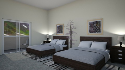 Hotel Room - Retro - Bedroom - by millerfam