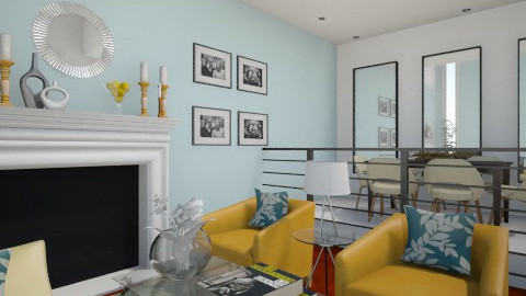 Yellow and Mint - Living room - by alasiamilan